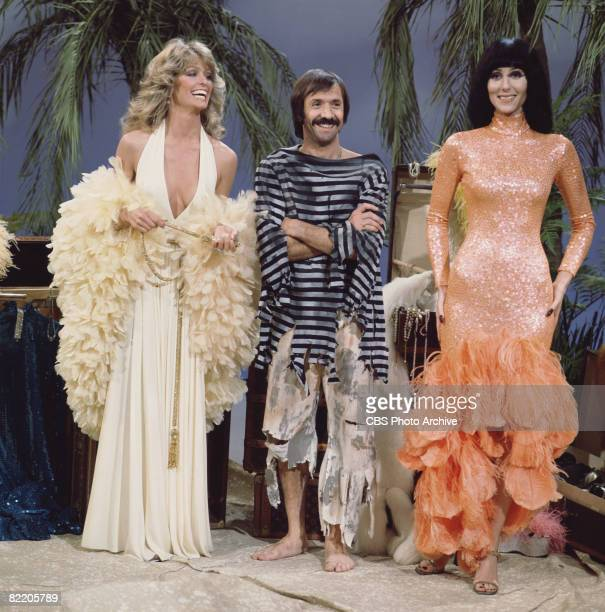 American actress Farrah Fawcett appears with married American singing and acting duo Sonny Bono and Cher in a skit for the television variety show...