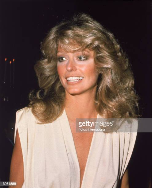 American actress Farrah Fawcett arrives at the Golden Globe Awards Ceremony at the Beverly Hilton Hotel Beverly Hills California January 1977
