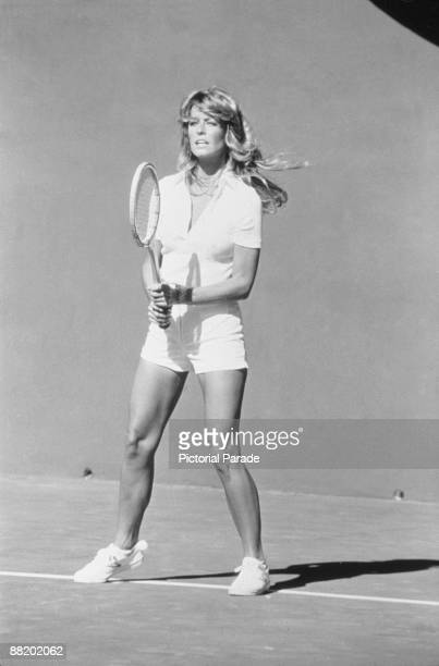 American actress Farrah Fawcett plays tennis in an episode of the television program 'Charlie's Angels' mid 1977