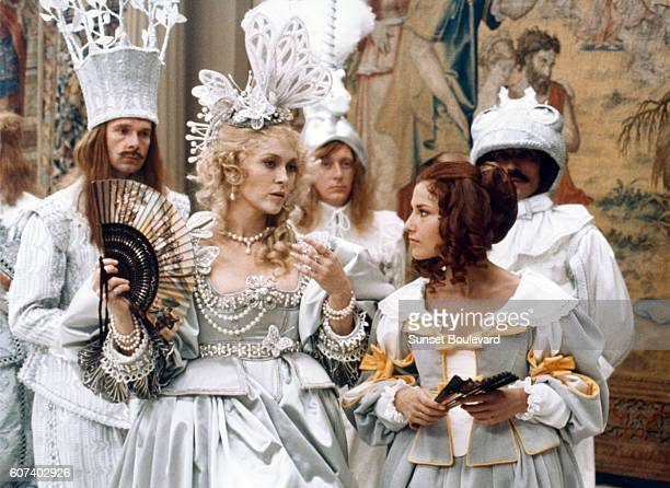 American actress Faye Dunaway and French actress Nicole Calfan on the set of The Three Musketeers based on the novel by Alexandre Dumas père and...