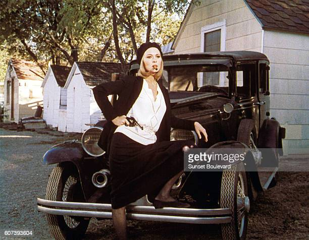 American actress Faye Dunaway on the set of Bonnie and Clyde directed by Arthur Penn