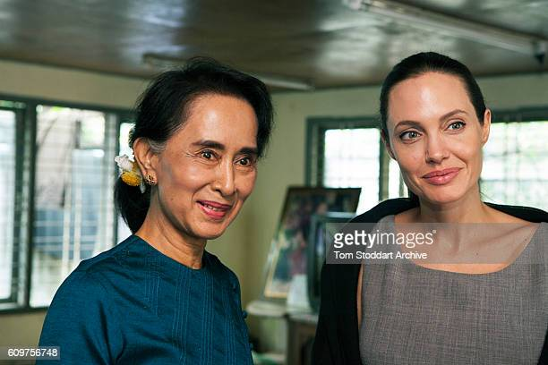 American actress film director and United Nations Special Envoy Angelina Jolie and meets Aung San Suu Kyi meet at the home of Ms Suu Kyi on August 1...