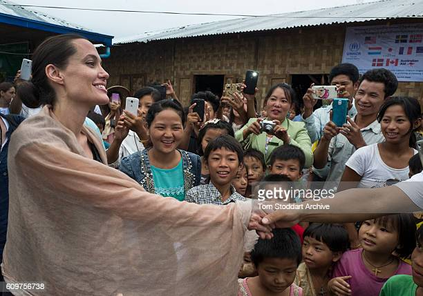 American actress film director and United Nations Special Envoy Angelina Jolie meets with Rohingya children at Ja Mai Kaung Baptist refugee camp on...