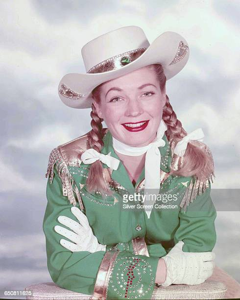 American actress Gail Davis as the titular sharpshooter in the television series 'Annie Oakley' circa 1955