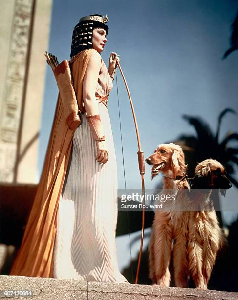 American actress Gene Tierney on the set of The Egyptian directed by Michael Curtiz