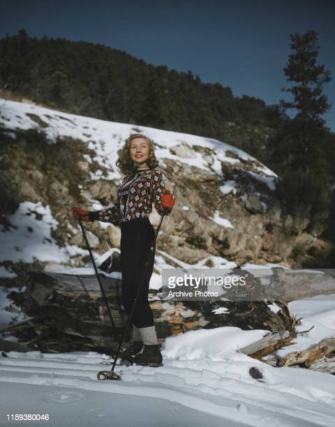 American actress Gloria Grahame on skis circa 1955