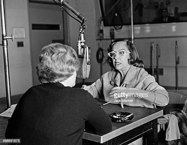 American actress Gloria Swanson appears on a live radio show interview 1962