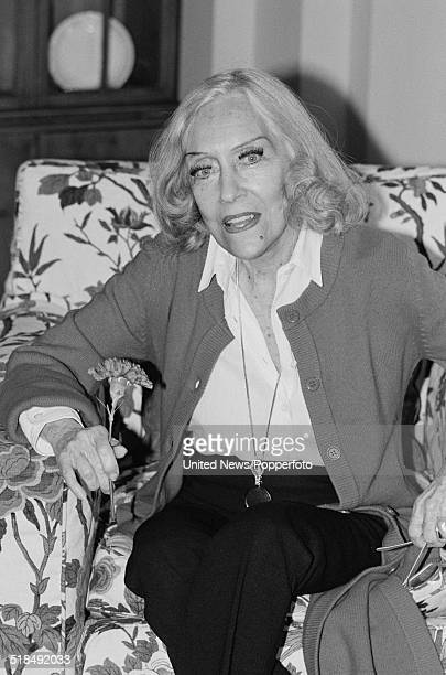 American actress Gloria Swanson pictured in London on 13th March 1981