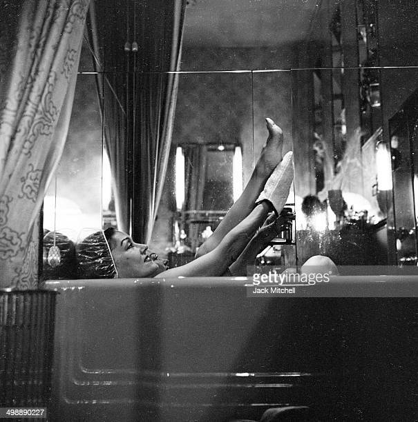 American actress Gloria Swanson takes a bath af her home New York New York 1962