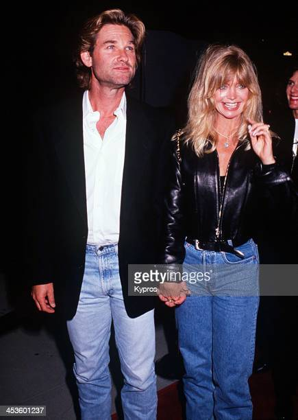 American actress Goldie Hawn with her partner actor Kurt Russell at the 'Housesitter' Beverly Hills premiere on June 9th 1992 at the Academy Theatre...