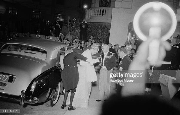 American actress Grace Kelly arrives for evening celebrations after her wedding to Prince Rainier Monaco 19th April 1956 Original publication Picture...