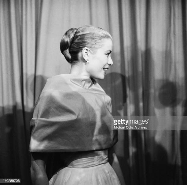 American actress Grace Kelly attends the Academy Awards at the Pantages Theatre in Hollywood 21st March 1956