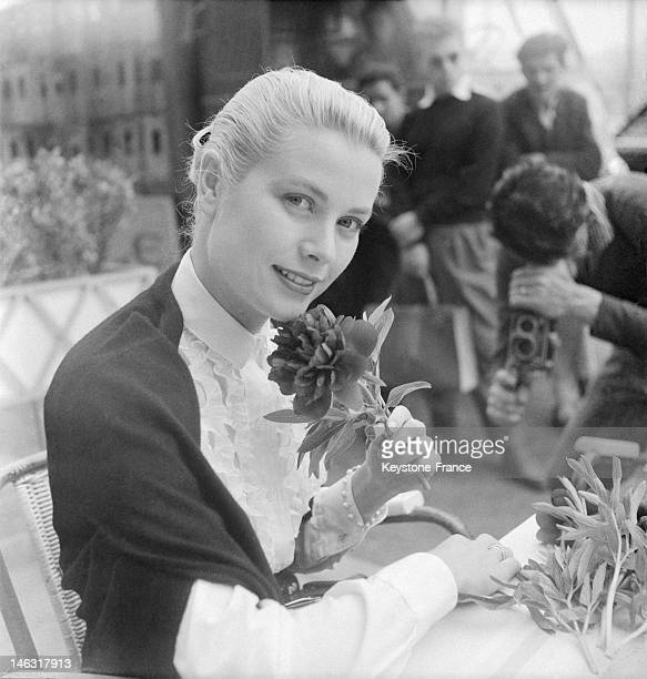 American actress Grace Kelly in Cannes for the international film festival in April 26 May 10 1955 in Cannes France This is on this trip that she met...