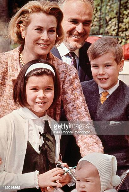 American actress Grace Kelly , now Princess Grace of Monaco, with her husband Prince Rainier III of Monaco and their children Albert, Caroline and...