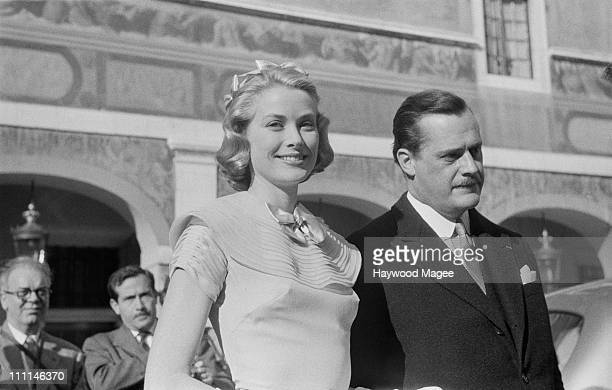 American actress Grace Kelly on the day of her civil wedding to Rainier III Prince of Monaco at the Prince's Palace of Monaco 18th April 1956 The man...