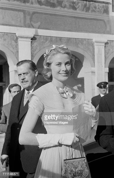 American actress Grace Kelly on the day of her civil wedding to Rainier III Prince of Monaco at the Prince's Palace of Monaco 18th April 1956...