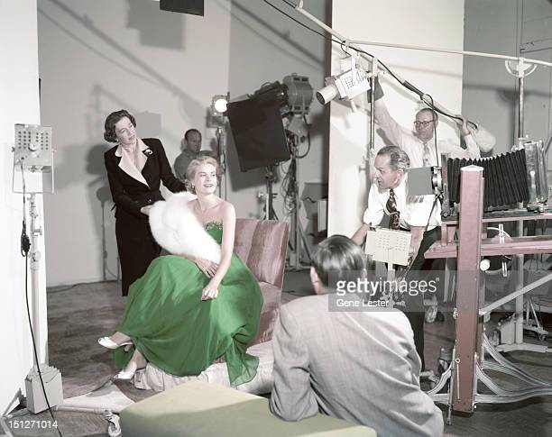 American actress Grace Kelly wearing a green dress for St Patrick's Day during a photoshoot 1954