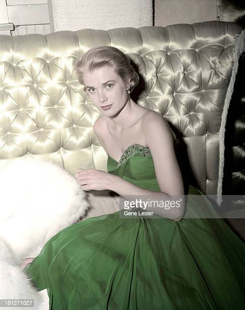 American actress Grace Kelly wearing a green dress for St Patrick's Day, 1954.
