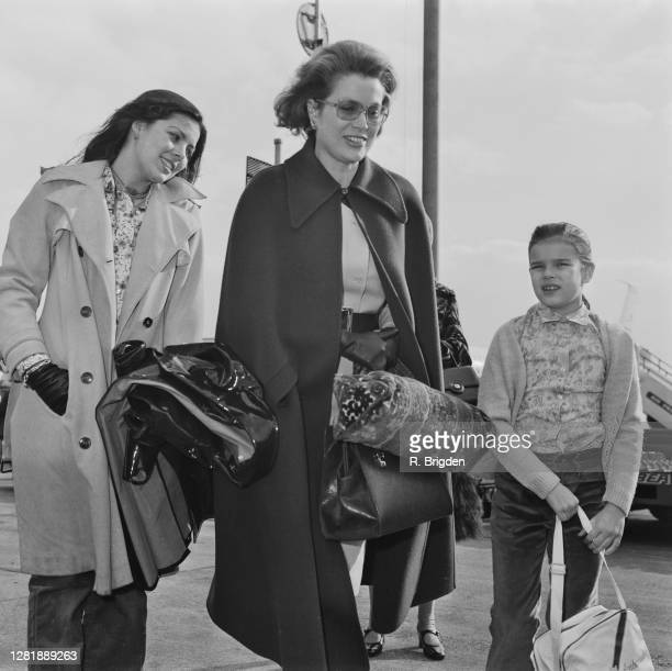 American actress Grace Kelly with her daughters Caroline and Stéphanie at London Airport UK 28th March 1973