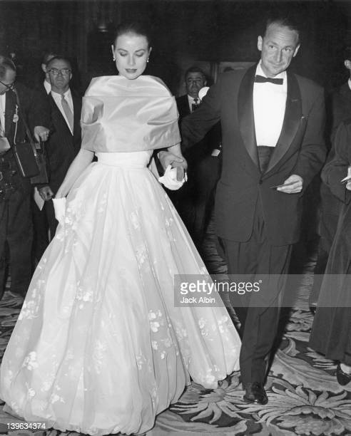American actress Grace Kelly with MGM publicist Morgan Hudgins at the RKO Pantages Theatre for the 28th Annual Academy Awards Hollywood California...
