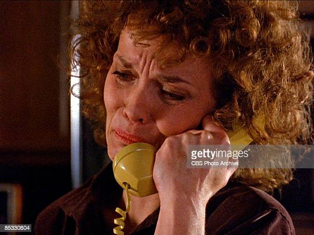 American actress Grace Zabriskie fights back grief as she talks on a telephone in a scene from the pilot episode of the television series 'Twin...