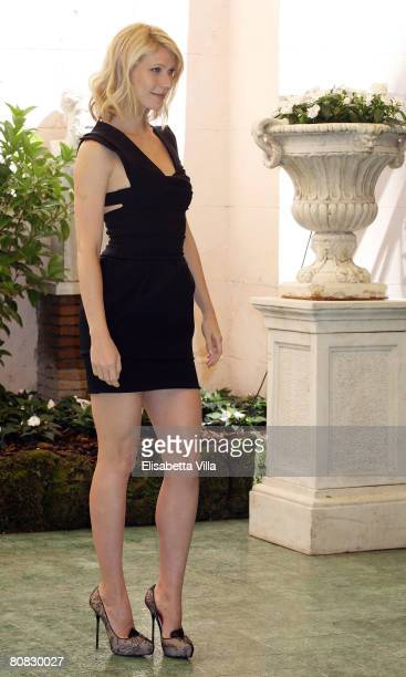 American actress Gwyneth Paltrow attends the 'Iron Man' photocall at Hassler Hotel on April 23 2008 in Rome Italy