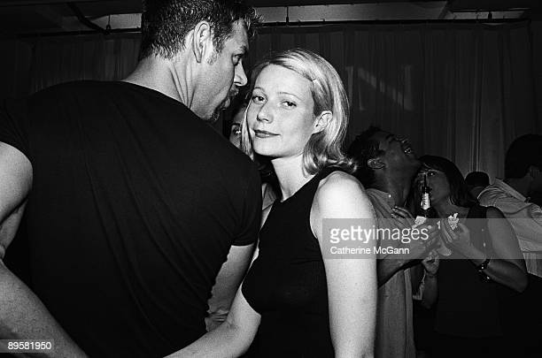American actress Gwyneth Paltrow poses for a photo with American makeup artist Kevyn Aucoin on July 14 1998 in New York City New York