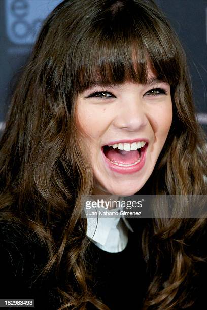 American actress Hailee Steinfeld attends 'Ender's Game' photocall at Villa Magna Hotel on October 3 2013 in Madrid Spain