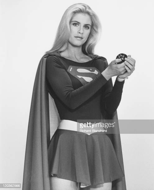 American actress Helen Slater stars as the titular superhero in the film 'Supergirl' 1984