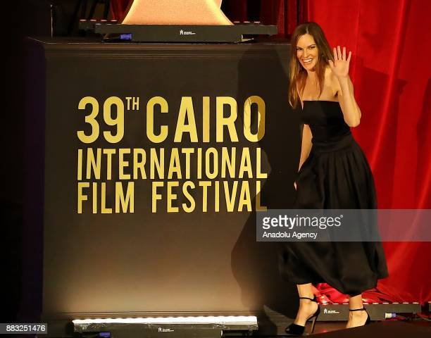 American actress Hilary Swank attends the closing ceremony of the 39th Cairo International Film Festival in Cairo, Egypt on November 30, 2017.