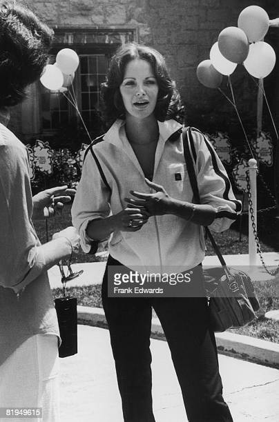 American actress Jaclyn Smith attends the annual John Tracy Clinic charity tennis tournament at Hugh Hefner's Playboy Mansion West in Los Angeles May...