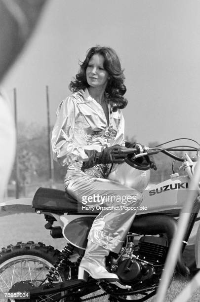 1970's American Actress Jaqueline Smith one of the original Charlie's Angels on the televison programme of the same name pictured next to her Suzuki...