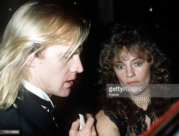 American actress Jacqueline Bisset with her partner Russian ballet dancer and actor Alexander Gudonov circa 1988