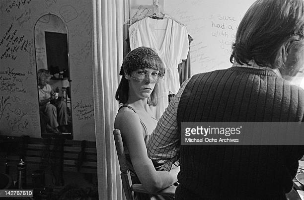 American actress Jamie Lee Curtis in her dressing room circa 1988