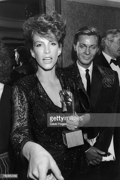 American actress Jamie Lee Curtis in London with the BAFTA award she received for Best Supporting Actress for her performance in 'Trading Places'...