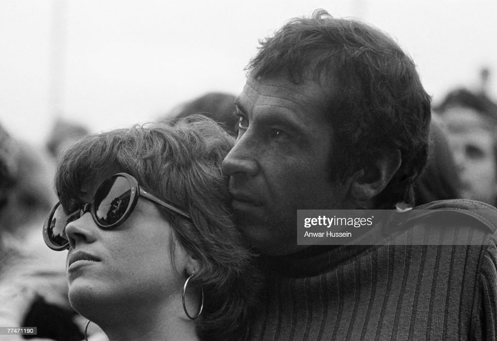 American actress Jane Fonda and her husband, French film director Roger Vadim (1928 - 2000) attend the Isle of Wight Festival in Wootton, 30th/31st August 1969.
