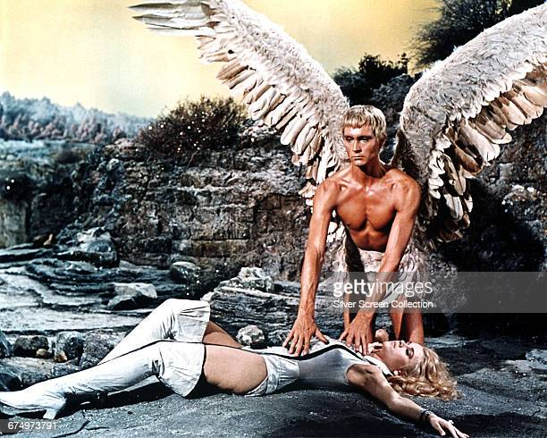 American actress Jane Fonda as Barbarella and actor John Phillip Law as the blind angel Pygar in the science fiction/fantasy film 'Barbarella'...