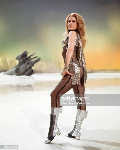 American actress Jane Fonda as the title character in a publicity still for the science fiction film 'Barbarella' 1968