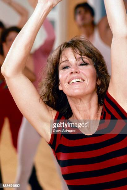 American actress Jane Fonda exercises during a photo shoot for 'Jane Fonda's Workout Book' Los Angeles California 1981