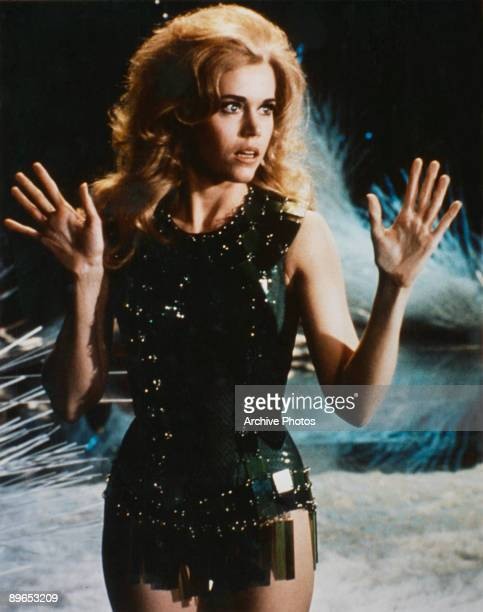 American actress Jane Fonda plays the lead in the erotic science fiction fantasy film 'Barbarella' 1968