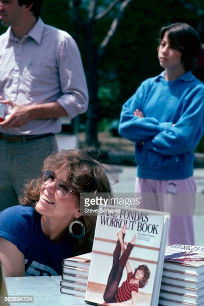 American actress Jane Fonda smiles during an event to promote 'Jane Fonda's Workout Book' Los Angeles California early 1980s
