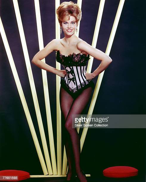 American actress Jane Fonda wearing a black lace basque circa 1965