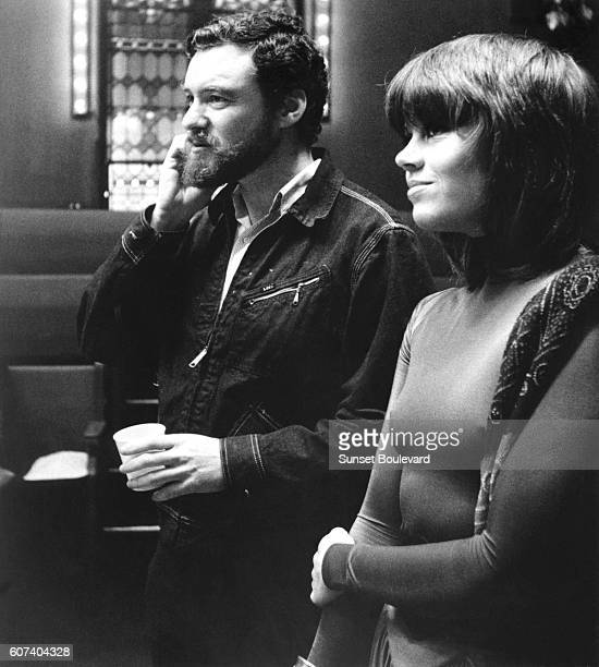 American actress Jane Fonda with American director and producer Alan J Pakula on the set of his movie Klute