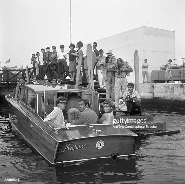 American actress Jane Fonda with her brother Peter Fonda and her husband Roger Vadim portrayed on a water taxi leaving from the wharf Venice 1967