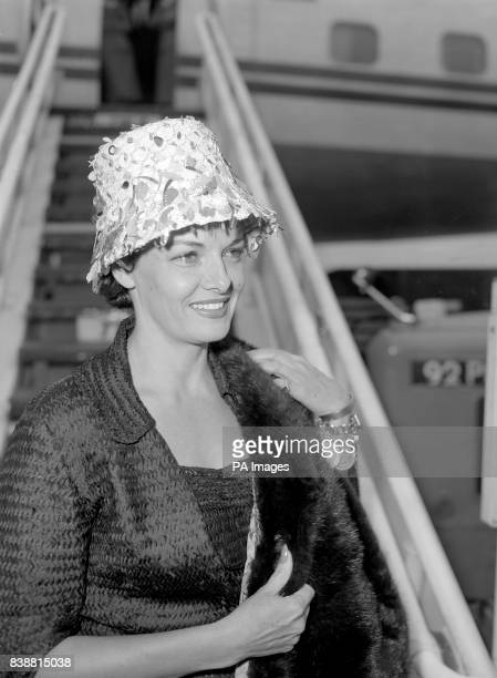 American actress Jane Russell arrives at London Airport from Hollywood sporting a hat featuring falling leaves Jane Russell arrived in London ahead...