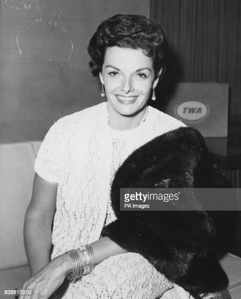 American actress Jane Russell awaits her TWA flight back to Hollywood after a visit to Britain where she appeared on ATV's 'Sunday Night at the...