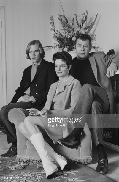 American actress Jane Russell , her husband, actor Roger Barrett and her adoptive son Tommy Waterfield, UK, 30th September 1968.