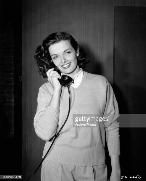 American actress Jane Russell on the phone circa 1950
