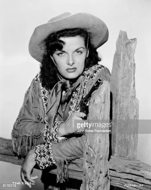 American actress Jane Russell stars as Wild West sharpshooter Calamity Jane in 'The Paleface' directed by Norman Z McLeod
