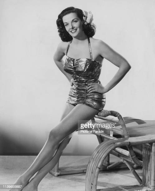American actress Jane Russell wearing a one-piece swimsuit, circa 1945.